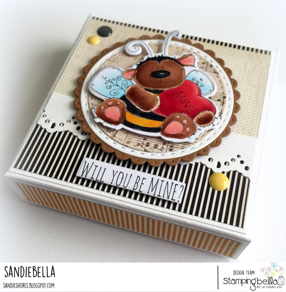 www.stampingbella.com: Rubber stamp used: BEE MINE GIFT BOX by Sandie Dunne