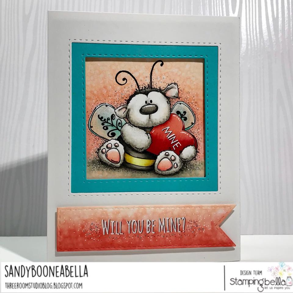 www.stampingbella.com: Rubber stamp used: BEE MINE card by Sandy Boone