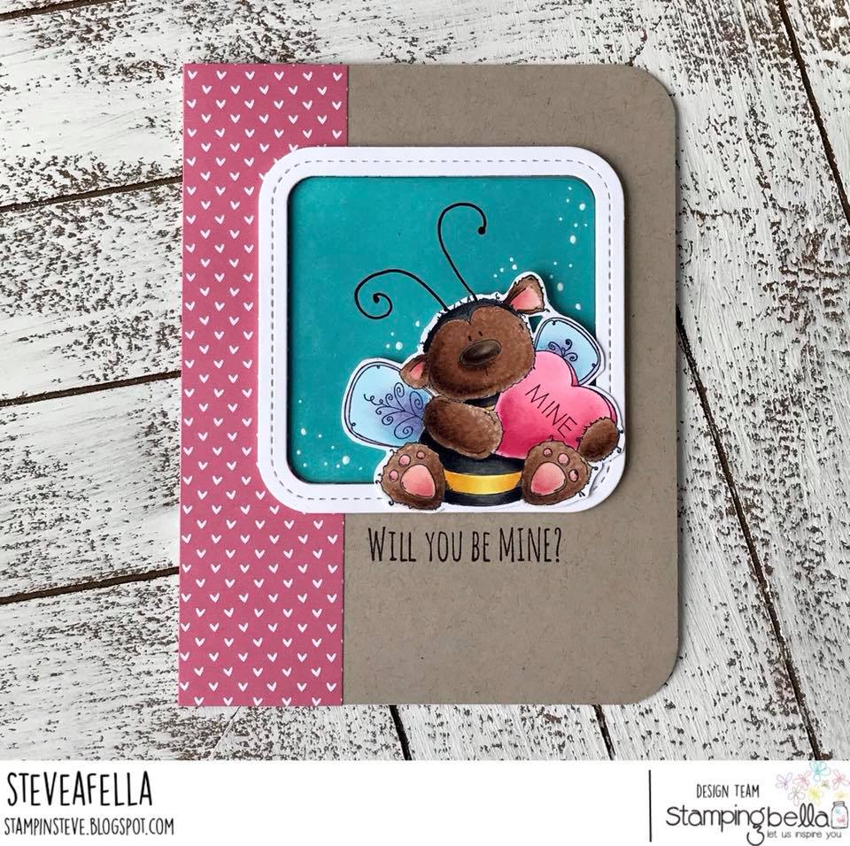 www.stampingbella.com: Rubber stamp used: BEE MINE card by Stephen Kropf