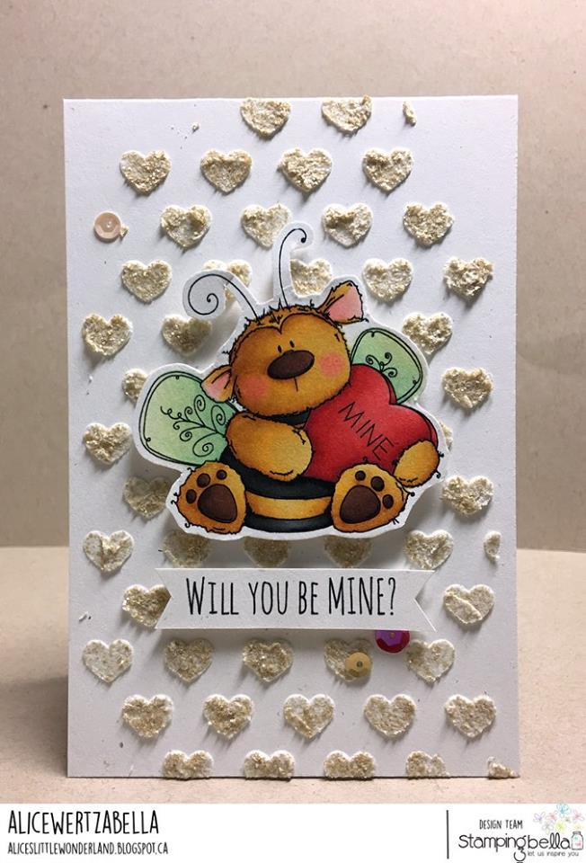 www.stampingbella.com: Rubber stamp used: BEE MINE card by Alice Wertz