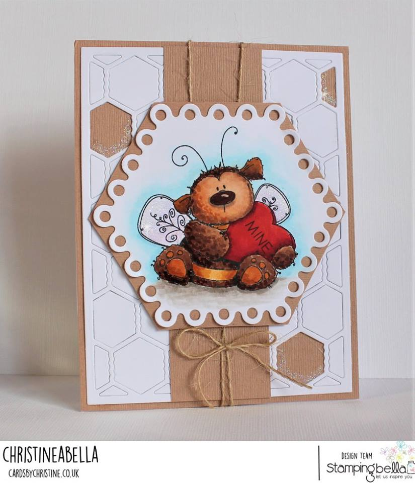 www.stampingbella.com: Rubber stamp used: BEE MINE card by Christine Levison