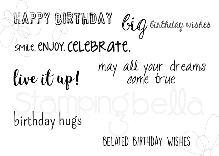 www.stampingbella.com: Rubber stamp: BIRTHDAY SENTIMENT SET
