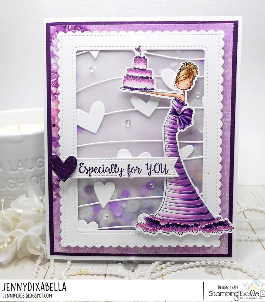 all stamps and CUT IT OUT dies are available at www.stampingbella.com- Stamp used UPTOWN GIRL BRITTANY the BIRTHDAY GIRL, card by Jenny Dix