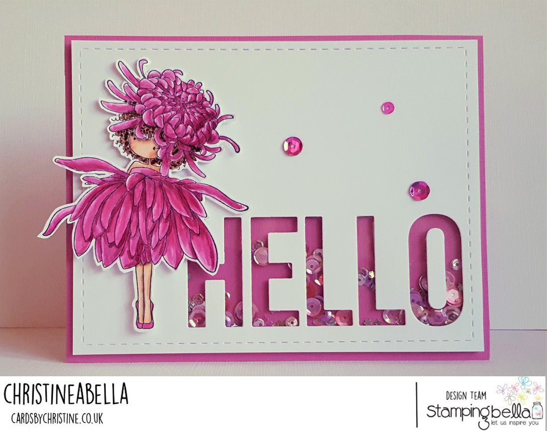 all stamps and CUT IT OUT dies are available at www.stampingbella.com- Stamp used TINY TOWNIE GARDEN GIRL CHRYSANTHEMUM card by Christine Levison
