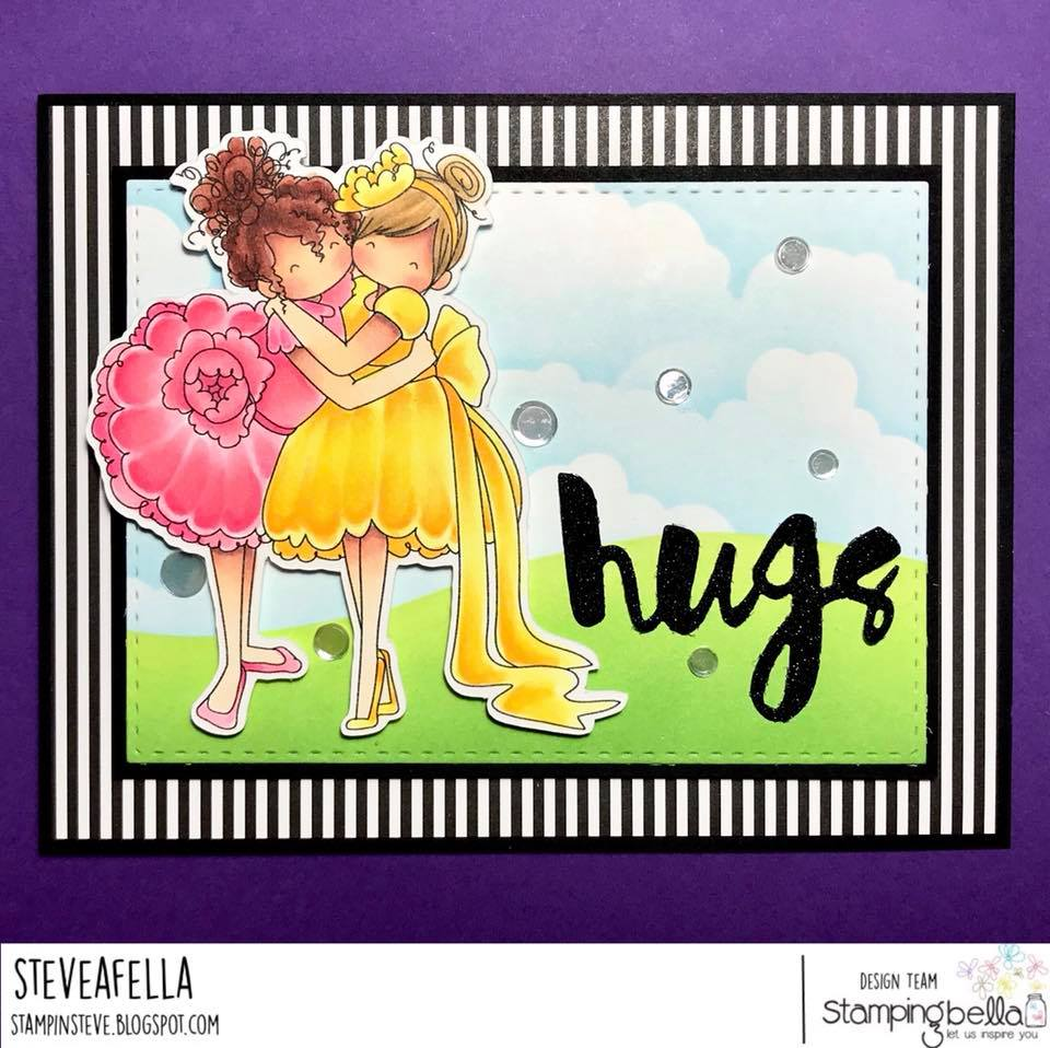 www.stampingbella.com:  Rubber stamp used: Tiny Townie Huggy Friends card by Stephen Kropf