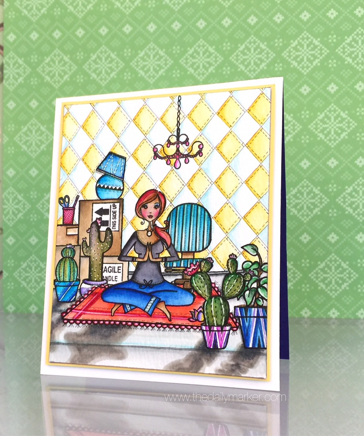 Card by Kathy Rac.. rubber stamp used YOGABELLA
