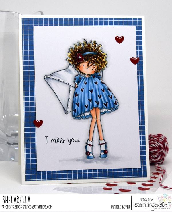 all stamps and CUT IT OUT dies are available at www.stampingbella.com- Stamp used TINY TOWNIE LACEY has a LETTER, card by Michele Boyer