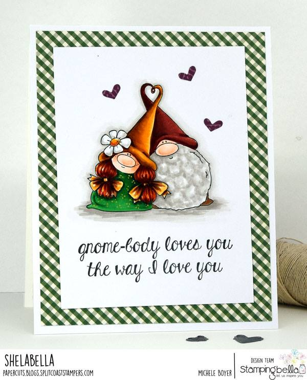 www.stampingbella.com:  Rubber stamp used: LOVEY GNOMES card by Michele Boyer