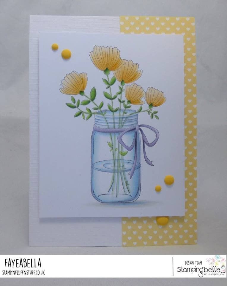 all stamps and CUT IT OUT dies are available at www.stampingbella.com- Stamp used MASON JAR of FLOWERS  card by FAYE WYNN JONES