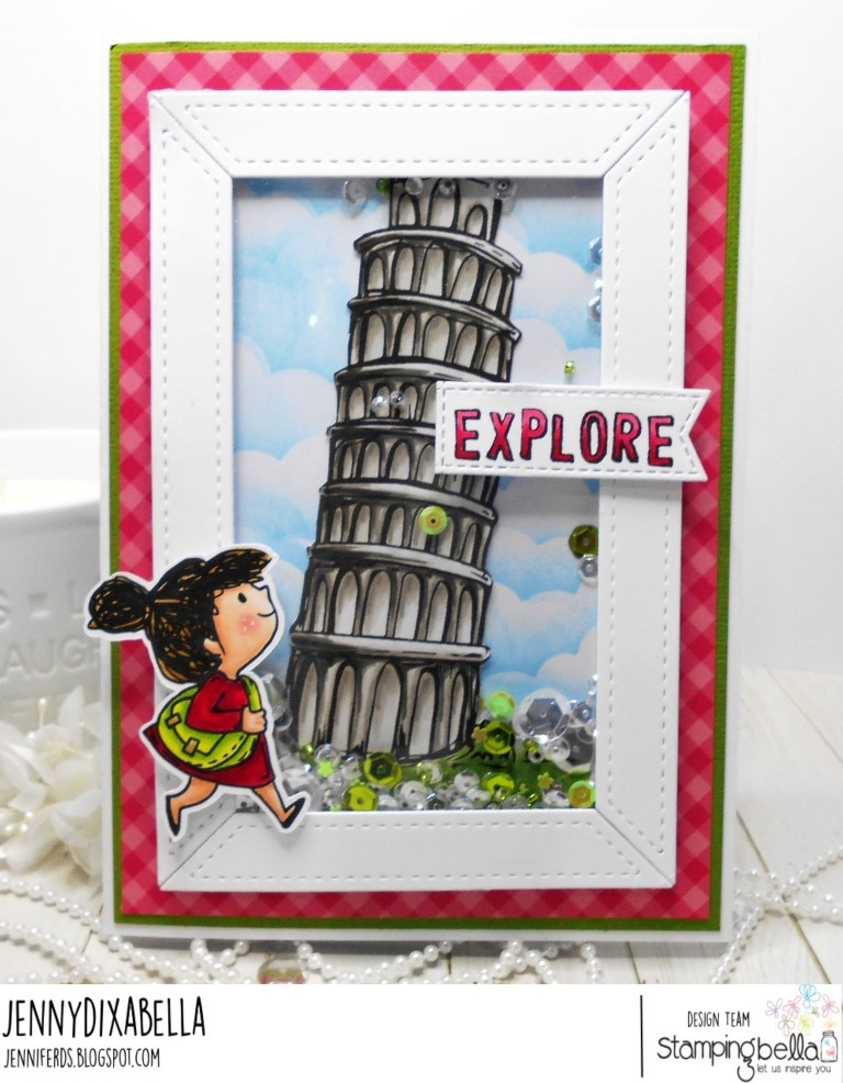 www.stampingbella.com: Rubber stamps used: A tale of TWO rosies, Rosie and Bernie's COLOSSEUM, Adventure Sentiment Set CARD BY Jenny Dix