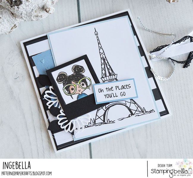 www.stampingbella.com: Rubber stamp used: PUT A STAMP ON IT ROSIE and Rosie and Bernie's Eiffel Tower Card by Inge Groot