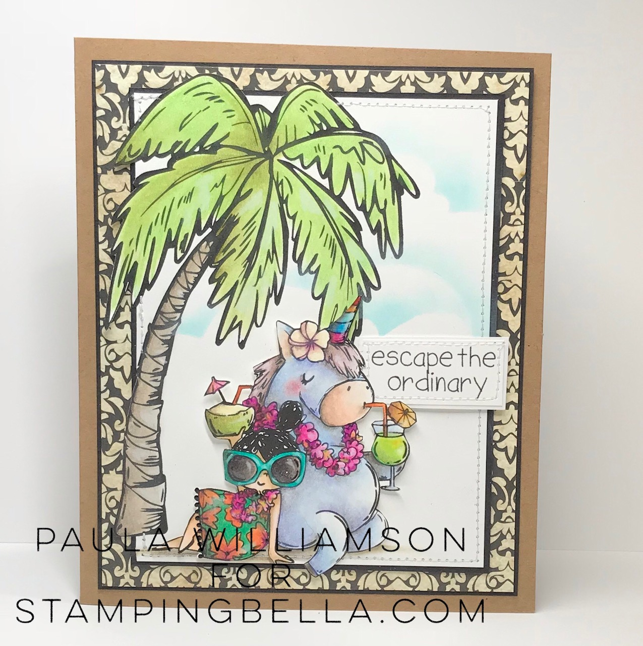 www.stampingbella.com: Rubber stamps used: Rosie and Bernie in Hawaii, Rosie and Bernie's PALM TREE, and our Adventure Sentiment Set CARD BY Paula Williamson