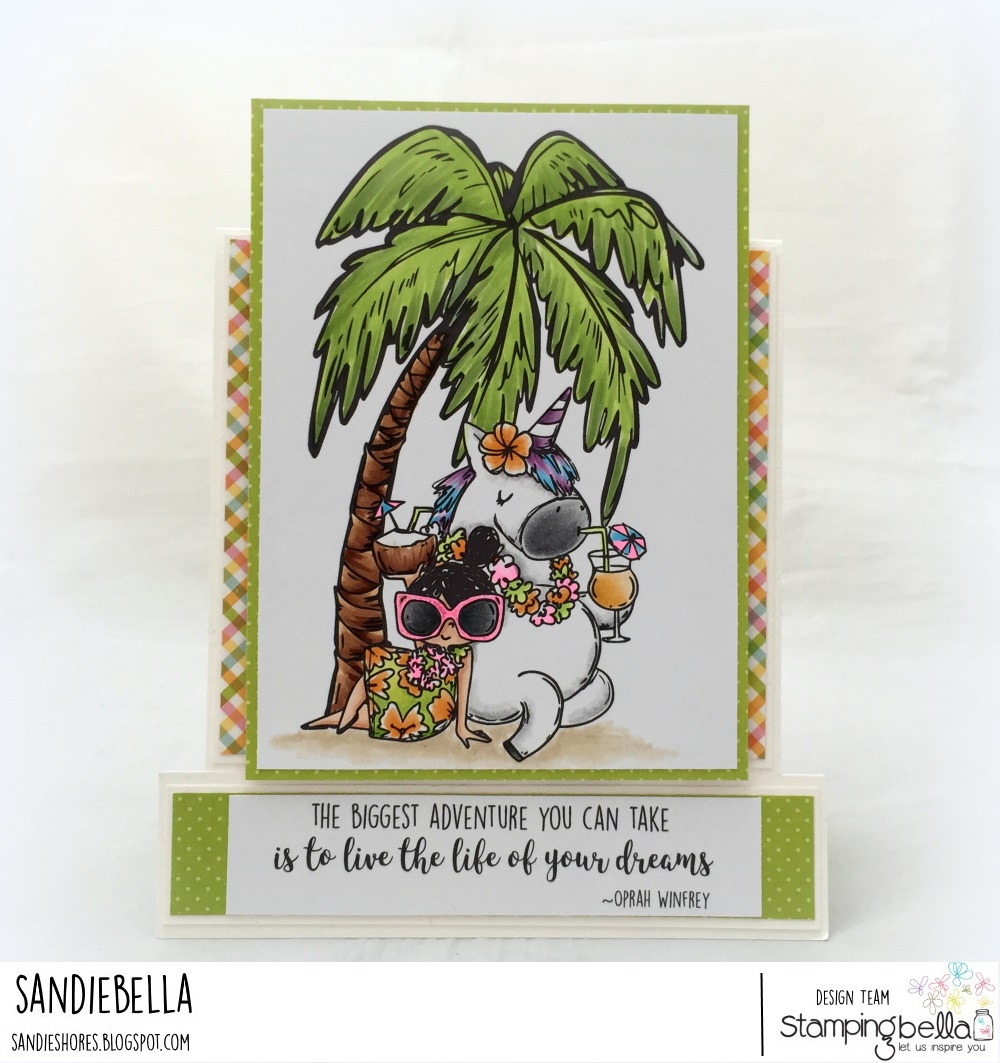 www.stampingbella.com: Rubber stamps used: Rosie and Bernie in Hawaii, Rosie and Bernie's PALM TREE, and our Adventure Sentiment Set CARD BY Sandie Dunne