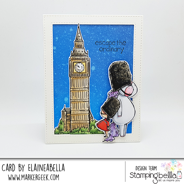 www.stampingbella.com: Rubber stamps used: Rosie and Bernie in London, Rosie and Bernie's BIG BEN and Adventure Sentiment Set CARD BY Elaine Hughes