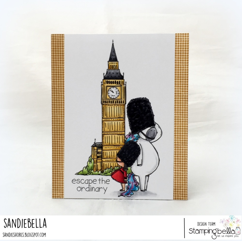 www.stampingbella.com: Rubber stamps used: Rosie and Bernie in London, Rosie and Bernie's BIG BEN, and Adventure Sentiment Set CARD BY Sandie Dunne