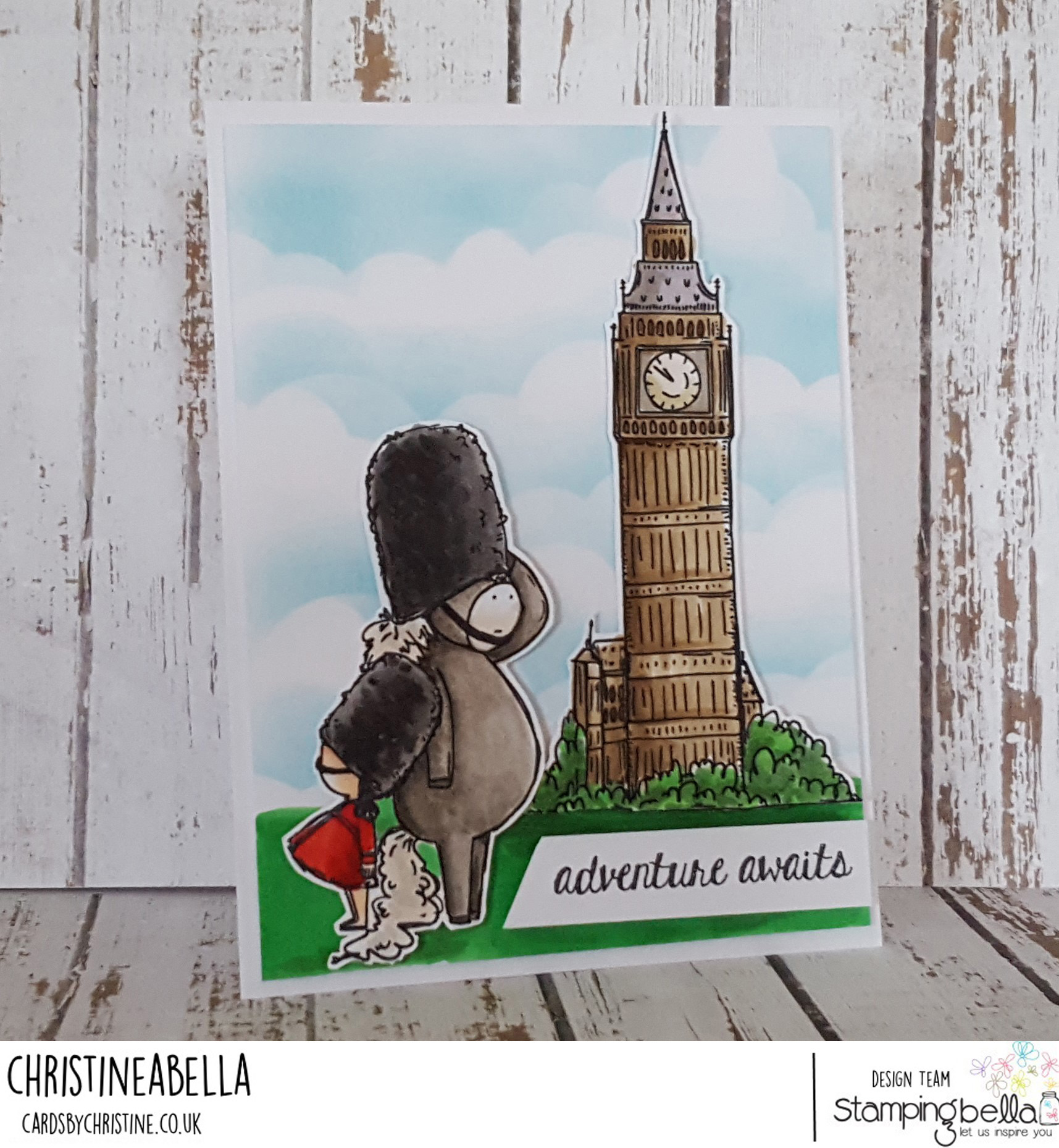 www.stampingbella.com: Rubber stamps used: Rosie and Bernie in London, Rosie and Bernie's BIG BEN and our Adventure Sentiment Set CARD BY Christine Levison