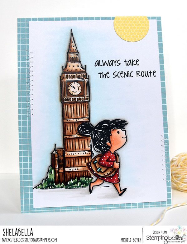 www.stampingbella.com: Rubber stamps used: Rosie and Bernie in London, Rosie and Bernie's BIG BEN and our Adventure Sentiment Set CARD BY Michele Boyer