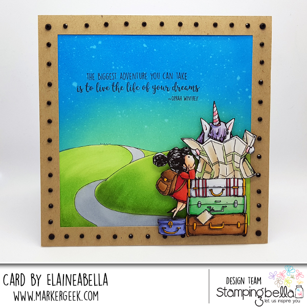 www.stampingbella.com: Rubber stamp used: Rosie and Bernie plan a trip CARD BY ELAINE HUGHES