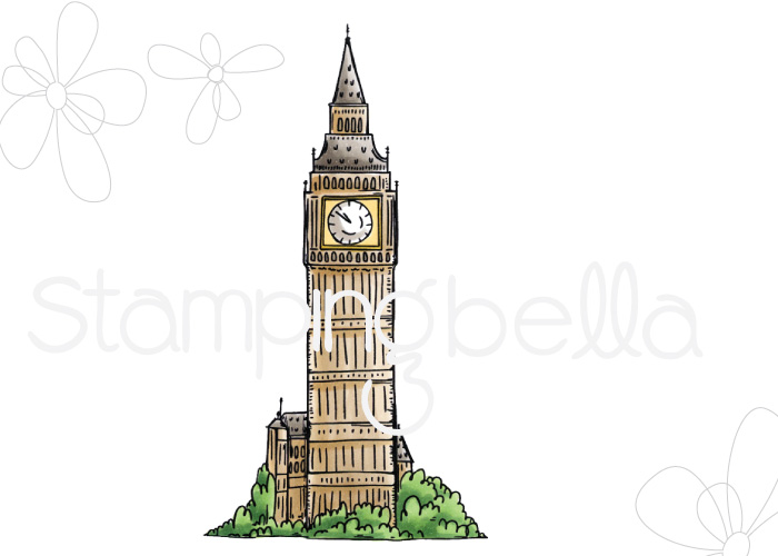 www.stampingbella.com- SNEAK PEEK day 1- ROSIE AND BERNIE'S BIG BEN rubber stamp