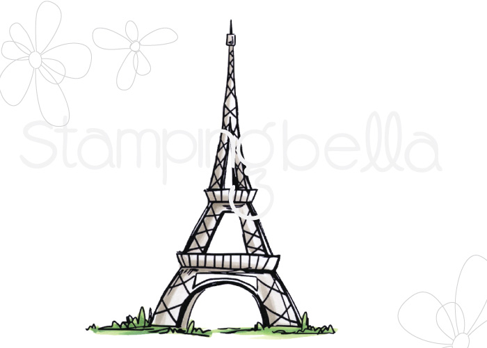 www.stampingbella.com: Rubber stamp: Rosie and Bernie's EIFFEL TOWER
