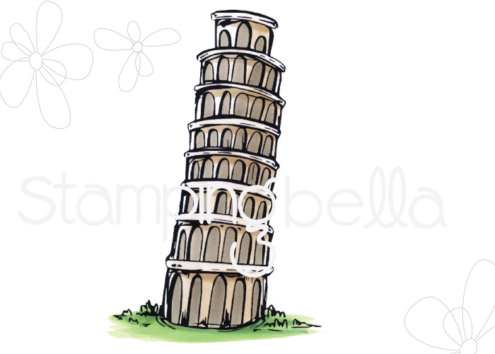 www.stampingbella.com- SNEAK PEEK day 1- ROSIE AND BERNIE'S LEANING TOWER OF PISA rubber stamp