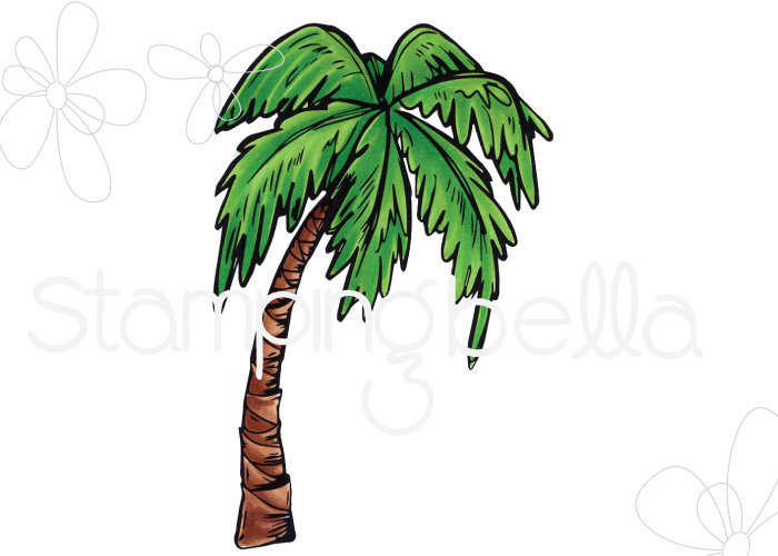 www.stampingbella.com- SNEAK PEEK day 1- ROSIE AND BERNIE'S PALM TREE rubber stamp