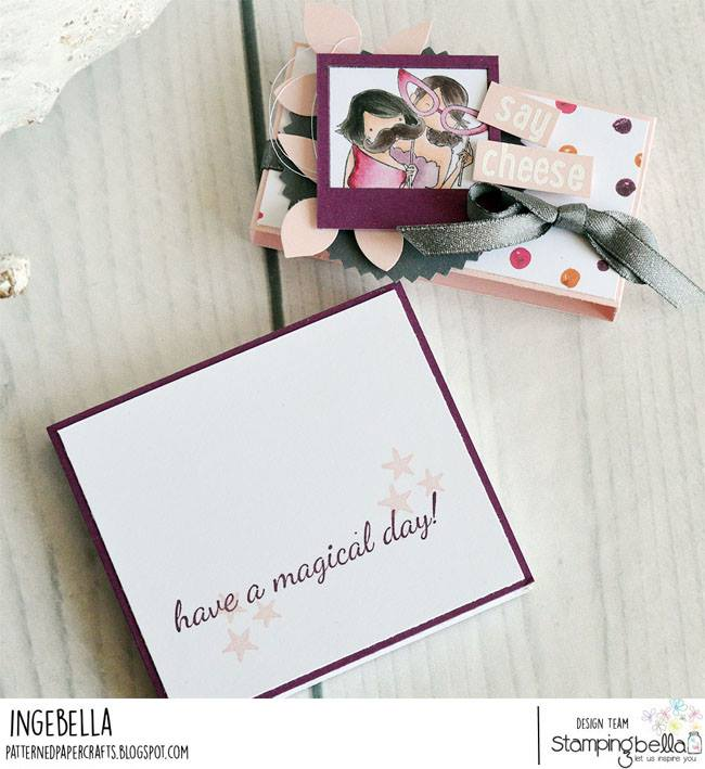 www.stampingbella.com:  Rubber stamp used: UPTOWN GIRL SNAPSHOTS ACTING GOOFY card by Inge Groot