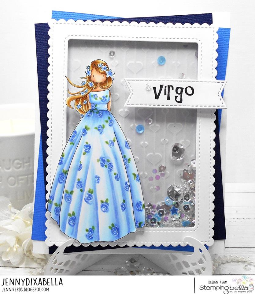 www.stampingbella.com:  Rubber stamp used: UPTOWN ZODIAC GIRL VIRGO card by Jenny Dix