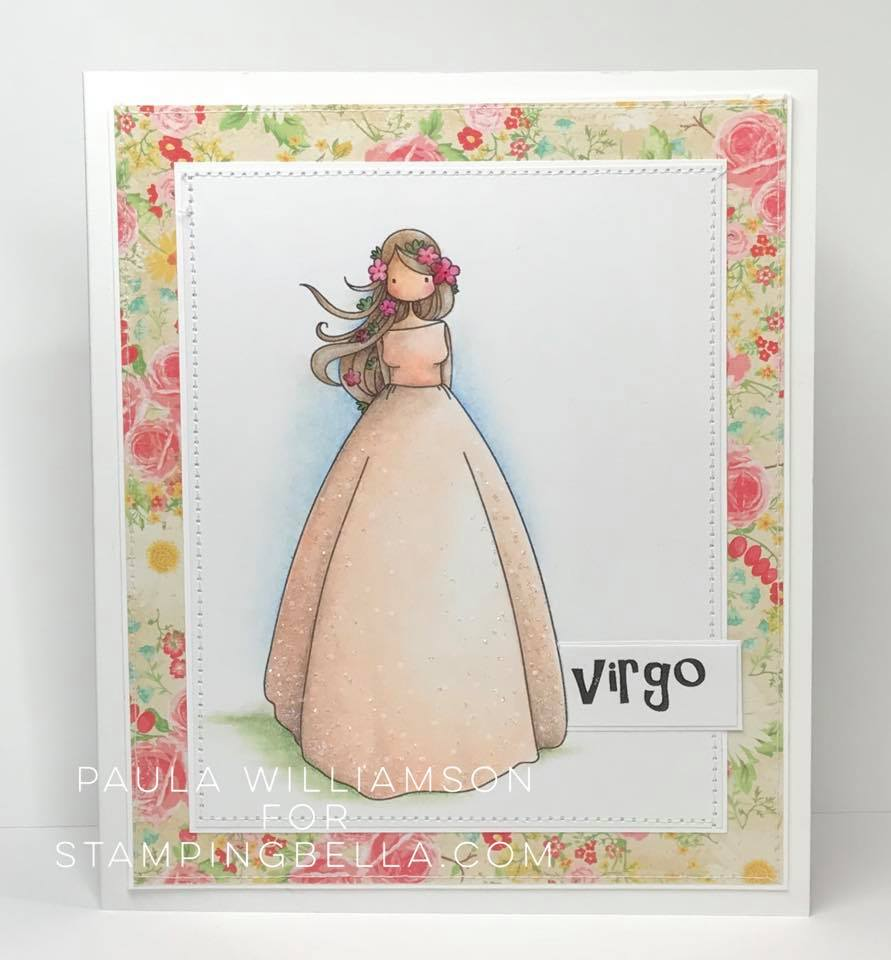 all stamps and CUT IT OUT dies are available at www.stampingbella.com- Stamp used UPTOWN ZODIAC GIRL VIRGO, card by PAULA WILLIAMSON