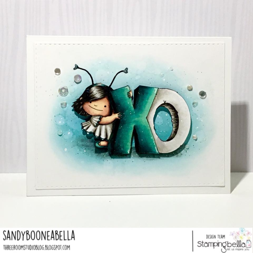 all stamps and CUT IT OUT dies are available at www.stampingbella.com- Stamp used XO SQUIDGY , card by Sandy Boone