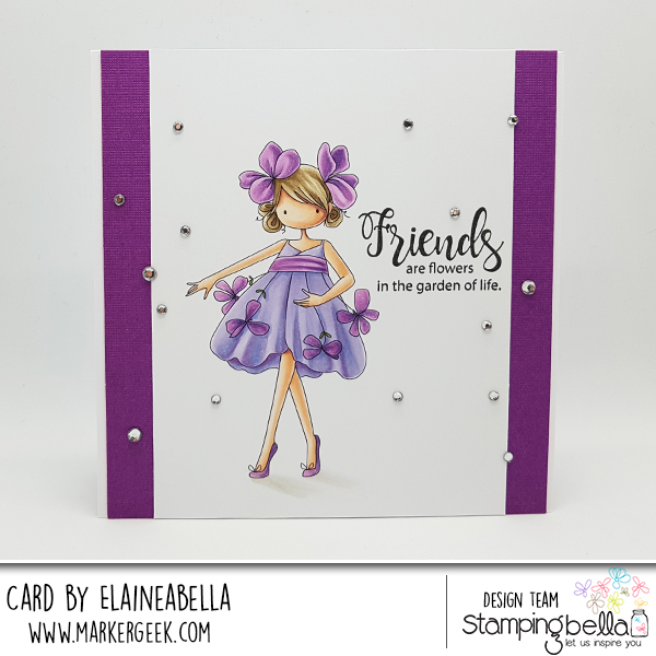 www.stampingbella.com : Rubber stamp used: Tiny Townie Garden Girl VIOLET card by Elaine Hughes