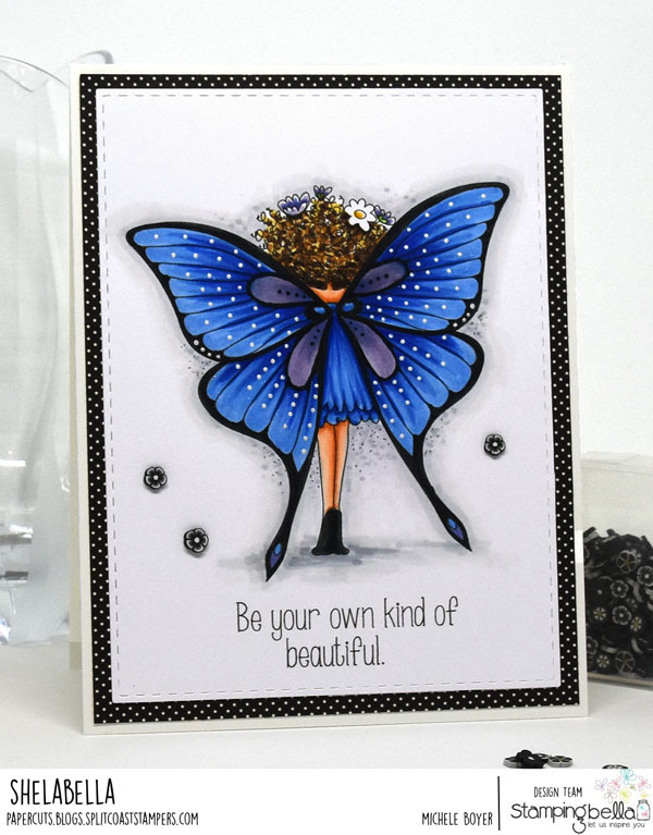 www.stampingbella.com: rubber stamp used : Tiny Townie butterfly girl BABETTE card by Michele Boyer