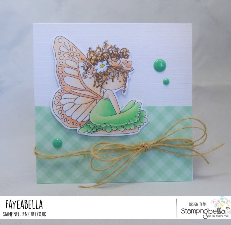 www.stampingbella.com: rubber stamp used : Tiny Townie butterfly girl Bess, card by Faye Wynn Jones