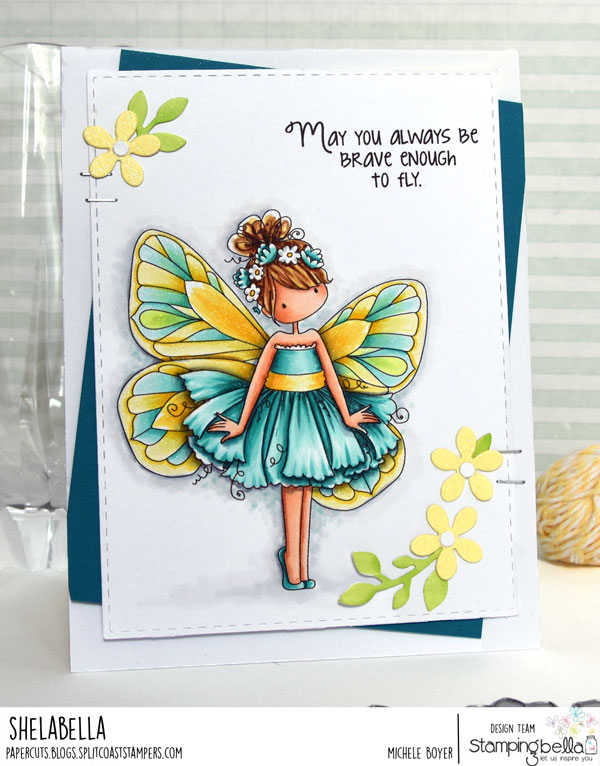 www.stampingbella.com: rubber stamp used : Tiny Townie butterfly girl Blanche and Butterfly sentiment set card by Shelabella