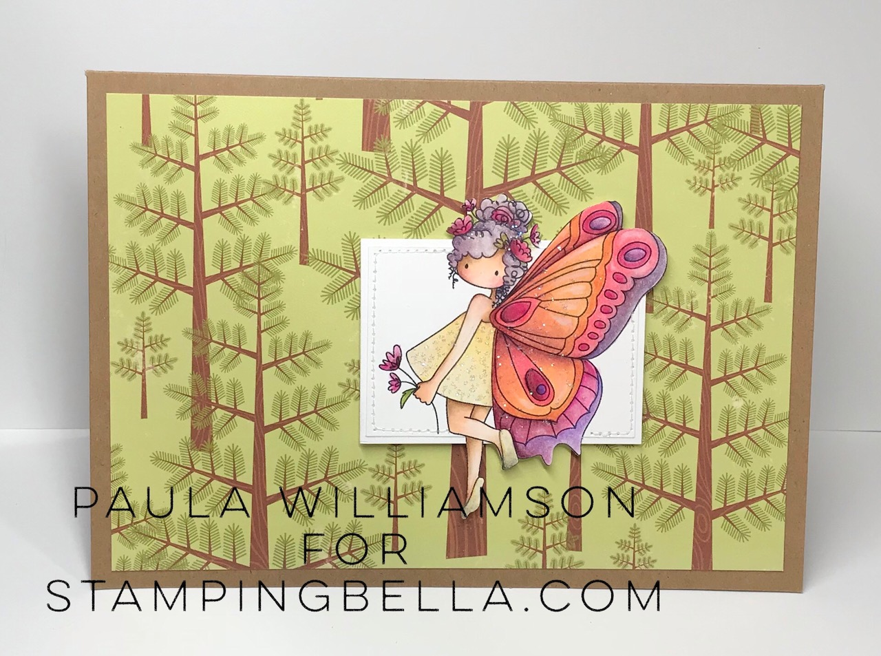 www.stampingbella.com: rubber stamp used : Tiny Townie butterfly girl Brianna , card by Paula Williamson