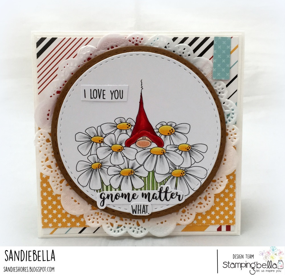 www.stampingbella.com: Rubber stamp: GNOME BOUQUET, card made by Sandie Dunne
