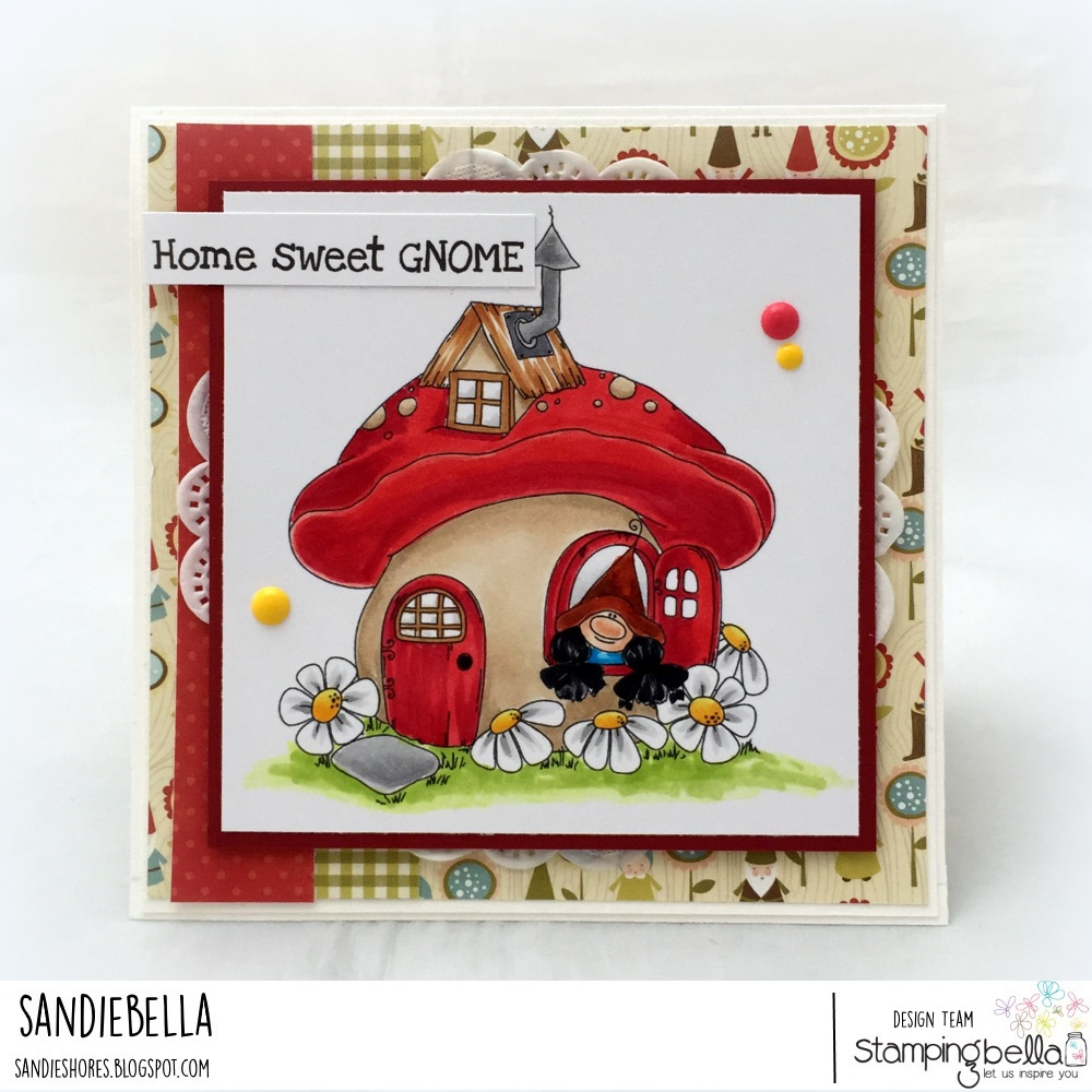 www.stampingbella.com: Rubber stamp: GNOME HOME card by Sandie Dunne