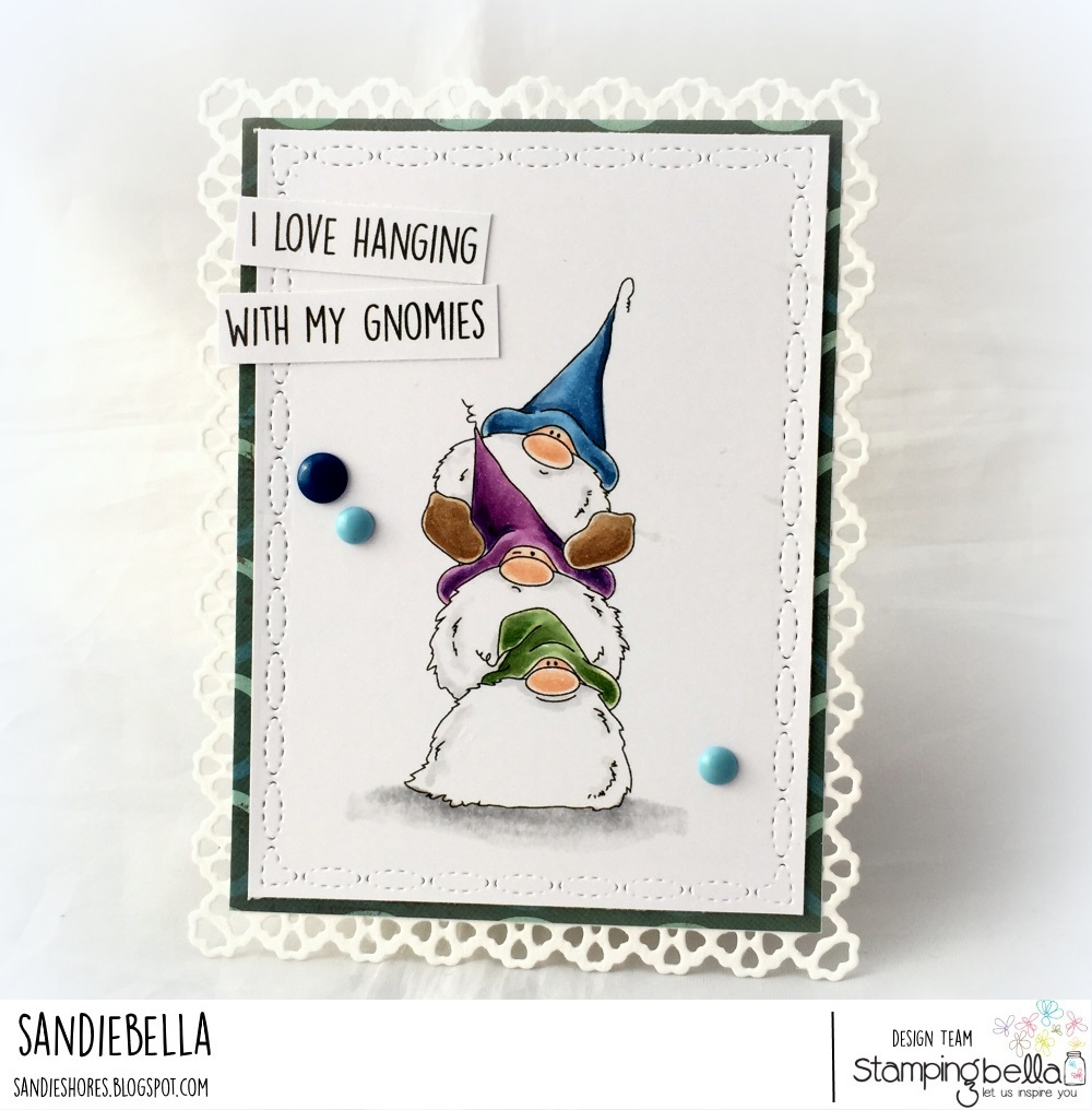 www.stampingbella.com: Rubber stamp: Gnome PILE card by Sandie Dunne