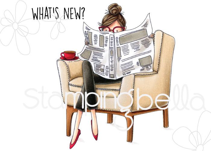 www.stampingbella.com: rubber stamp: Uptown girl NANCY reads the NEWSPAPER