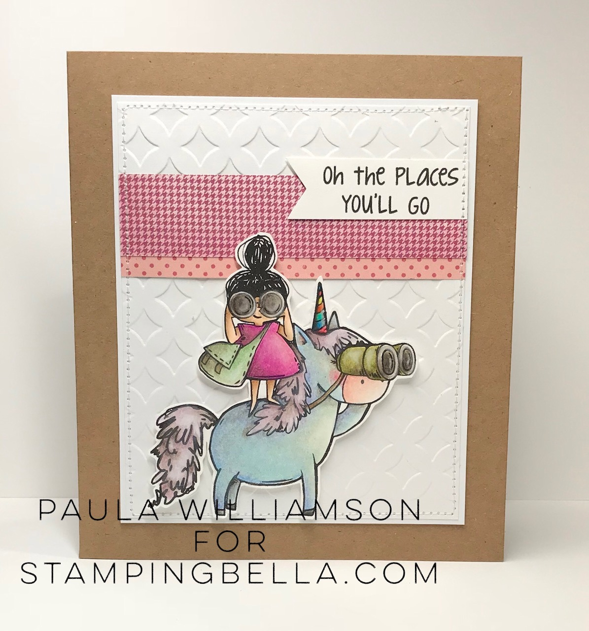 www.stampingbella.com: Rubber stamp used Rosie and Bernie LOVE TO EXPLORE and our Adventure Sentiment set. Card by Paula Williamson
