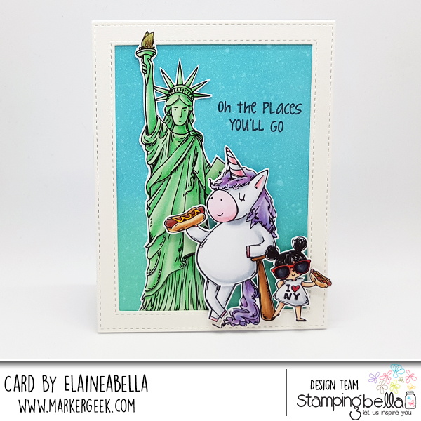 www.stampingbella.com: Rubber stamp used ROSIE AND BERNIE in NEW YORK CITY, ROsie and Bernie's Statue of Liberty , Adventure Sentiment set. Card by Elaine Hughes