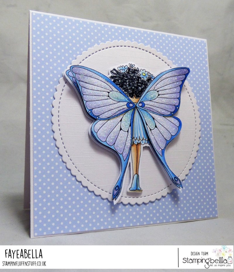 www.stampingbella.com: rubber stamp used : Tiny Townie butterfly girl BABETTE card by Faye Wynn Jones