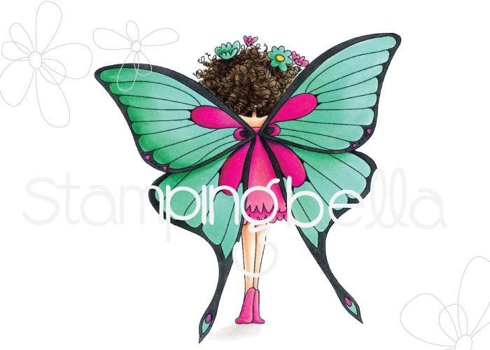 www.stampingbella.com: rubber stamp: Tiny Townie butterfly girl BABETTE