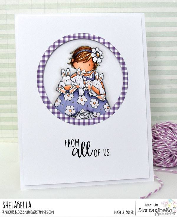 www.stampingbella.com: Rubber stamp used: TINY TOWNIE BECKY loves BUNNY WOBBLES, card by Michele Boyer
