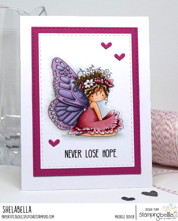 www.stampingbella.com: rubber stamp used : Tiny Townie butterfly girl Bess, card by Michele Boyer