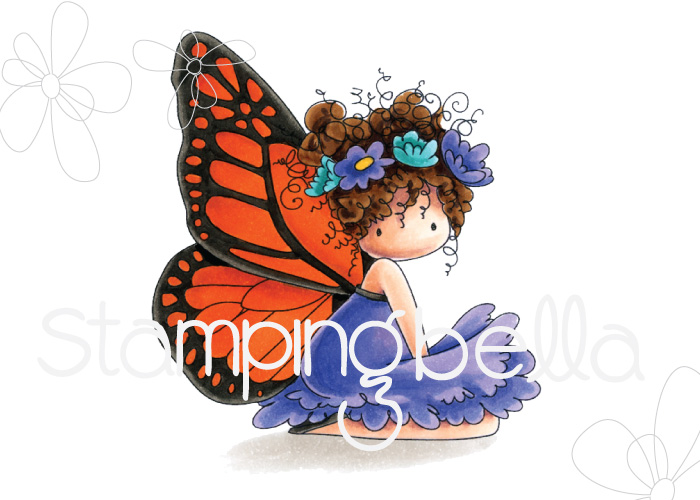 www.stampingbella.com: rubber stamp used : Tiny Townie butterfly girl Bess