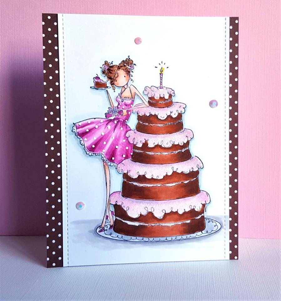 www.stampingbella.com: Rubber stamp used: UPTOWN GIRL BIANCA and her BIG CAKE, card by Christine Levison