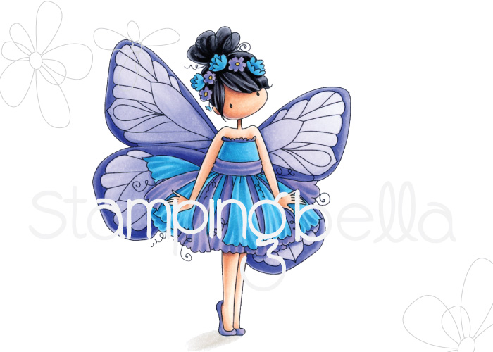 www.stampingbella.com: rubber stamp used : Tiny Townie butterfly girl Blanche