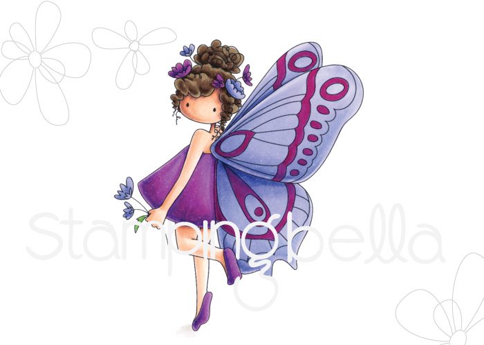 www.stampingbella.com: rubber stamp used : Tiny Townie butterfly girl Brianna