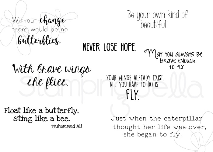 www.stampingbella.com: rubber stamp: BUTTERFLY SENTIMENT SET